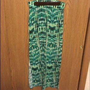 Long green maxi skirt
